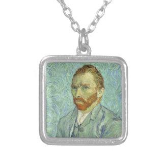 Vincent Van Gogh Self Portrait Fine Art Painting Square Pendant Necklace