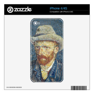 Vincent van Gogh   Self Portrait with Felt Hat Decals For The iPhone 4