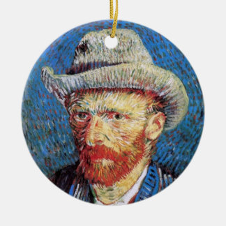 Vincent Van Gogh Self Portrait With Grey Felt Hat Ceramic Ornament