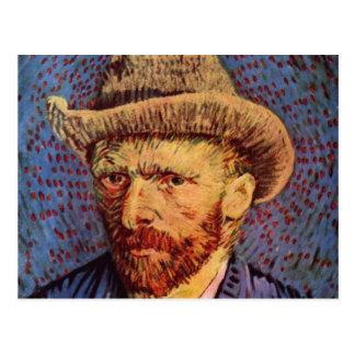 Vincent Van Gogh - Self Portrait with hat Postcard