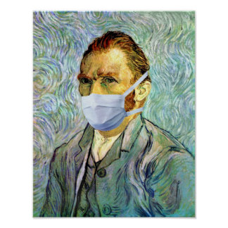 Vincent Van Gogh Self Portrait With Mask Spoof Poster