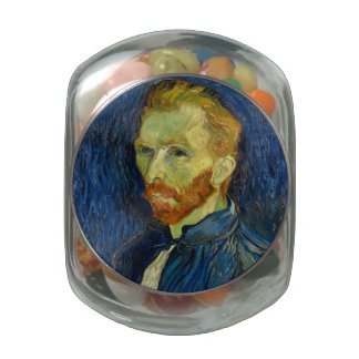 Vincent Van Gogh Self Portrait With Palette Glass Candy Jar