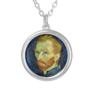 Vincent Van Gogh Self Portrait With Palette Round Pendant Necklace