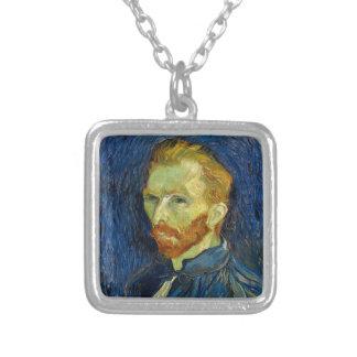 Vincent Van Gogh Self Portrait With Palette Square Pendant Necklace