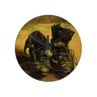Vincent Van Gogh Shoes Round Wall Clocks