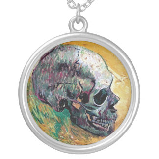 Vincent Van Gogh - Skull In Profile - Fine Art Silver Plated Necklace
