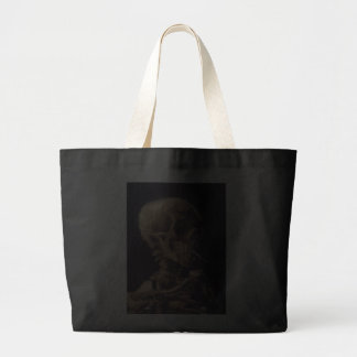 Vincent Van Gogh Skull with a Burning Cigarette Canvas Bags