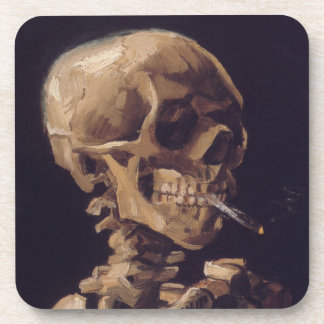 Vincent Van Gogh Skull with a Burning Cigarette Coaster
