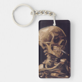 Vincent Van Gogh Skull with a Burning Cigarette Keychain