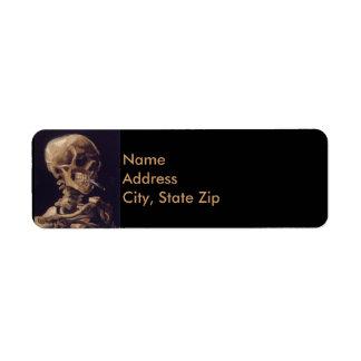 Vincent Van Gogh Skull with a Burning Cigarette Label