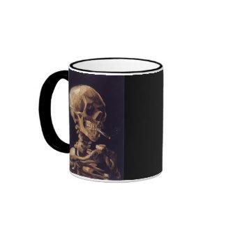 Vincent Van Gogh Skull with a Burning Cigarette Ringer Coffee Mug