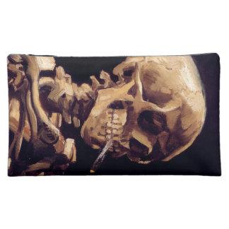 Vincent Van Gogh Skull with Burning Cigarette Makeup Bags