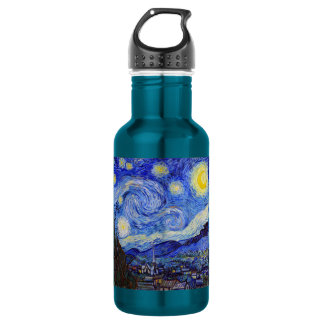 vincent, van, gogh, starry and night water bottle