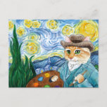 """Vincent Van Gogh Starry Night cat postcard<br><div class=""""desc"""">This image is also available on other products in my Zazzle store.  It's based on Vincent van Gogh's famous Post-Impressionist painting """"Starry Night.""""  You can add a message to the front if you'd like.</div>"""