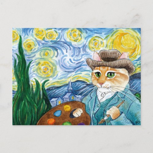 Vincent Van Gogh Starry Night cat postcard