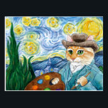 "Vincent Van Gogh Starry Night cat postcard<br><div class=""desc"">This image is also available on other products in my Zazzle store.  It's based on Vincent van Gogh's famous Post-Impressionist painting ""Starry Night.""  You can add a message to the front if you'd like.</div>"