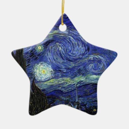 Vincent van Gogh, Starry Night Double-Sided Star Ceramic Christmas Ornament