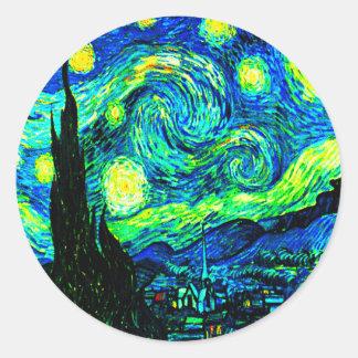 Vincent Van Gogh Starry Night Enhanced Classic Round Sticker