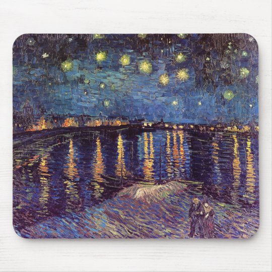 Vincent Van Gogh - Starry Night on Rhone Mouse Pad