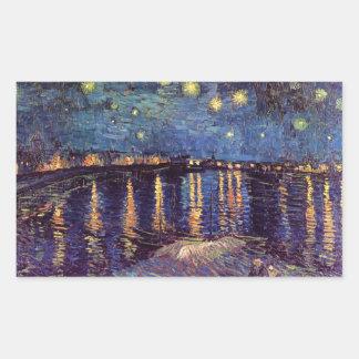 Vincent Van Gogh - Starry Night on Rhone Rectangular Sticker