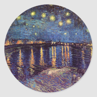 Vincent Van Gogh - Starry Night on Rhone Classic Round Sticker