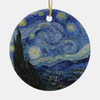 Vincent Van Gogh - Starry Night Double-Sided Ceramic Round Christmas Ornament