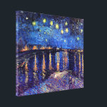 "Vincent Van Gogh - Starry Night Over The Rhone Canvas Print<br><div class=""desc"">This oil on canvas from 1888 is a painting Van Gogh did at night on the banks of the Rhone river, only a few blocks from the famous &#39;yellow house&#39; he was renting at the time. Unlike similar stores, Art Lover&#39;s Cafe features classic, high resolution works of art that have...</div>"