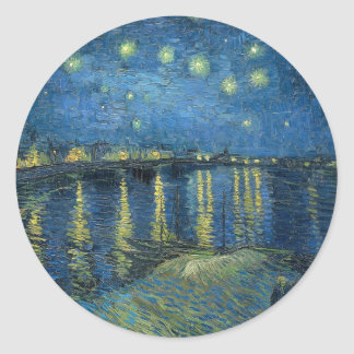 Vincent Van Gogh Starry Night Over the Rhone Classic Round Sticker