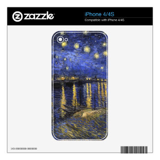 Vincent Van Gogh Starry Night Over The Rhone Decals For iPhone 4