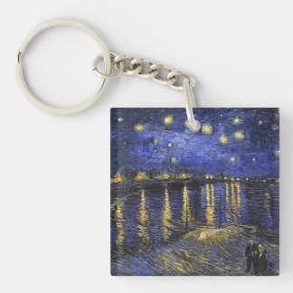 Vincent Van Gogh Starry Night Over The Rhone Double-Sided Square Acrylic Keychain
