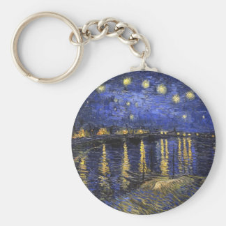 Vincent Van Gogh Starry Night Over The Rhone Basic Round Button Keychain