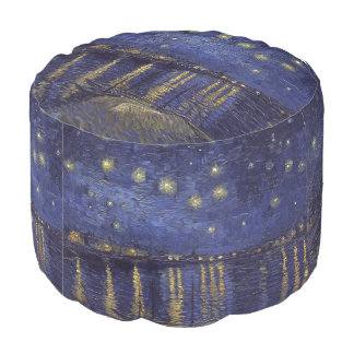 Vincent Van Gogh Starry Night Over The Rhone Round Pouf