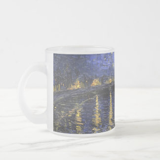 Vincent Van Gogh Starry Night Over The Rhone 10 Oz Frosted Glass Coffee Mug