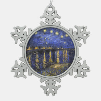 Vincent Van Gogh Starry Night Over The Rhone Snowflake Pewter Christmas Ornament