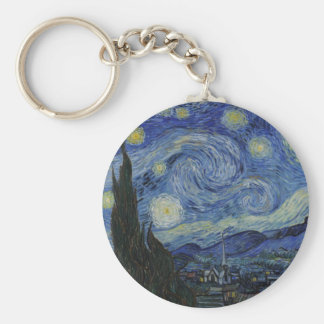 Vincent Van Gogh Starry Night Over The Rhone Paint Basic Round Button Keychain