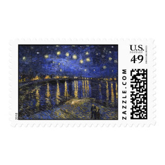 Vincent Van Gogh Starry Night Over The Rhone Postage Stamp