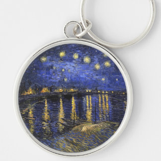 Vincent Van Gogh Starry Night Over The Rhone Silver-Colored Round Keychain