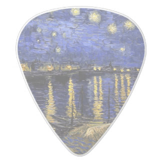 Vincent Van Gogh Starry Night Over The Rhone White Delrin Guitar Pick
