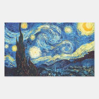Vincent Van Gogh - Starry Night Rectangular Sticker