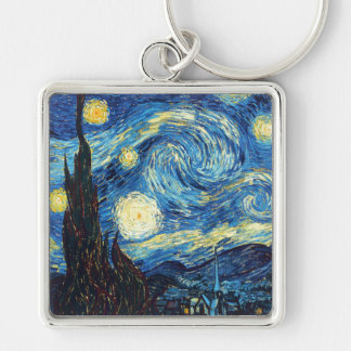 Vincent Van Gogh - Starry Night Silver-Colored Square Keychain