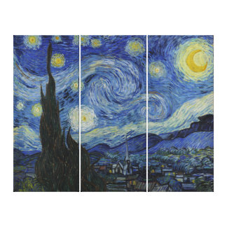 Vincent Van Gogh Starry Night Vintage Art Triptych Gallery Wrap Canvas