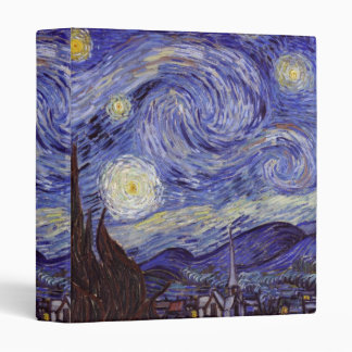 Vincent Van Gogh Starry Night Vintage Fine Art 3 Ring Binder