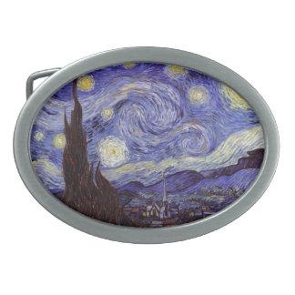 Vincent Van Gogh Starry Night Vintage Fine Art Oval Belt Buckle