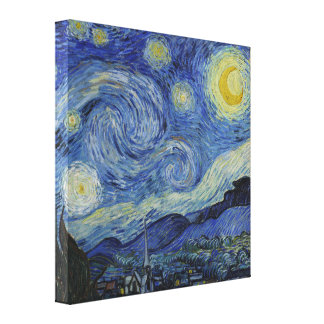 Vincent Van Gogh Starry Night Vintage Fine Art Stretched Canvas Print