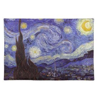 Vincent Van Gogh Starry Night Vintage Fine Art Cloth Placemat