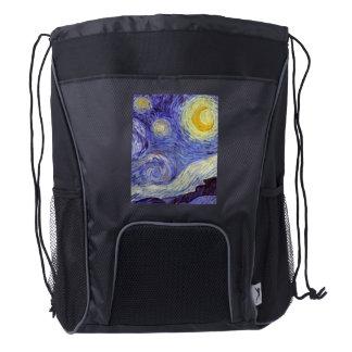 Vincent Van Gogh Starry Night Vintage Fine Art Drawstring Backpack