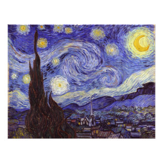 "Vincent Van Gogh Starry Night Vintage Fine Art 8.5"" X 11"" Flyer"