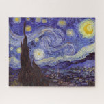 "Vincent Van Gogh Starry Night Vintage Fine Art Jigsaw Puzzle<br><div class=""desc"">Vincent van Gogh Starry Night Fine Art Painting Starry Night is a painting by Dutch post-impressionist artist Vincent van Gogh. The blue night sky is filled with swirling clouds, stars, and a bright crescent moon. The Starry Night is the only nocturne in the series of views from his bedroom window....</div>"
