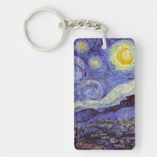 Vincent Van Gogh Starry Night Vintage Fine Art Keychain