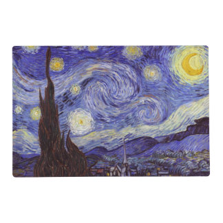 Vincent Van Gogh Starry Night Vintage Fine Art Laminated Placemat